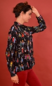 Shirt Elle lisait Sophocle La Cigogne, printed long sleeves shirt with cuffs, fluid, mini rounded collar.