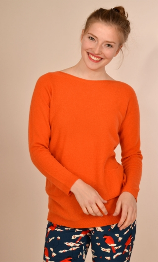 Pull La Grive. Princesse Cachemire. Orange