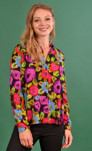 Shirt Elle lisait Sophocle Spanish Caravan, printed long sleeves shirt with cuffs, fluid, mini rounded collar.