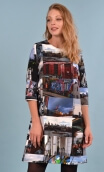 Robe Jess London, Printed stretch dress, trapeze skirt, above the knee, 3/4 sleeve.