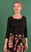 Top Pénélope Pops losanges black, Jacquard knit top, glamorous, fitted, draped neckline front, manches sleeves, sixties.