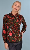 Shirt Little Jo in Cache-Cache, printed shirt long sleeve with cuffs, fluid, pointed collar, chest pockets with flaps