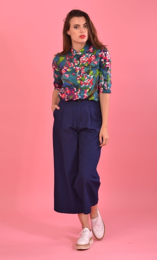 Pantalon Mao Indigo Granité, wide and short, casual and comfort, chinese-chic look!