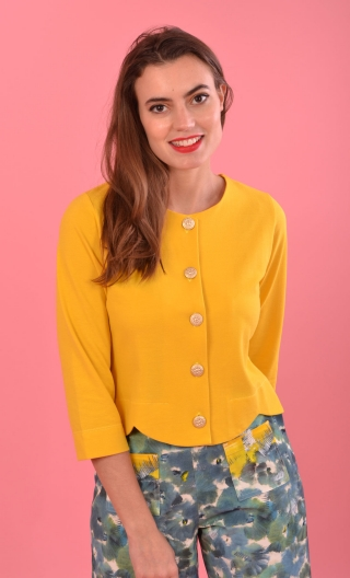 Cardigan Toccata Piqué Jaune d'or, short, three-quarter sleeve, scalloped around the waist