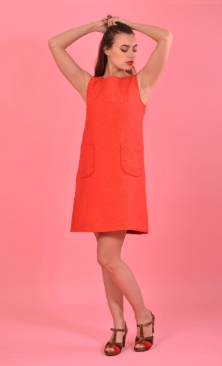 Robe Baby Doll Marguerite Corail, The iconic dress of Yéyés! Three-hole dress, trapeze, patch pockets, short, sixties look assur