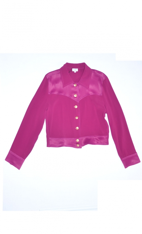 Blouson Roméo Merveilleuses Cassis, short plain jacket with stitched inserts, pointed collar and cuffs.