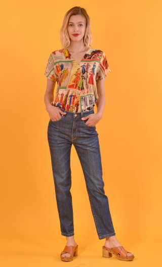 Jean Brian denim stone, cool and retro, stretch, high waist, flat belly, high buttock and thin thigh