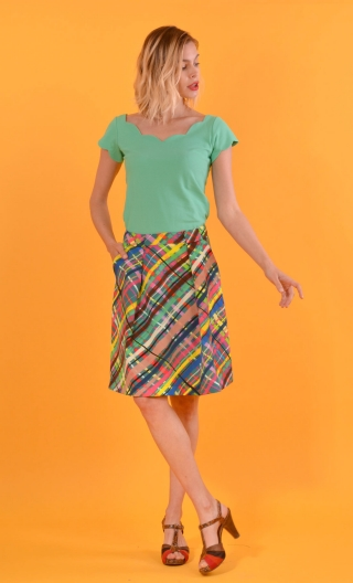 Jupe Sarcastique Glorious Pop, corolla skirt, beautiful folds front with pockets, flat back.