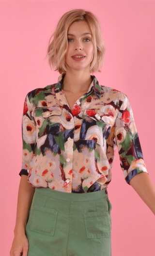 Shirt Niagara Monet, three-quarter sleeve shirt with cuffs, fluid, pointed collar.