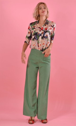Pantalon Voyage Hippy Chic Gazon, fluidity and depth of colors, Grace, classy