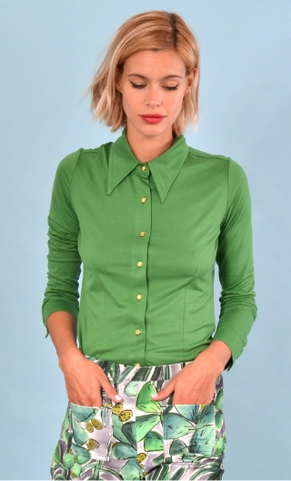 ChemiseAbbey Road Basiques Raffinés green, Plain jersey shirt, fitted, pointed collar, long sleeve with wrist. Seventies