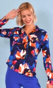 Chemise Little Jo. Crazy Bloom bleu rouge