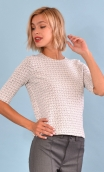 Top Cot'cotte Pops blue Zigzag, Jacquard knit top, crewneck, fitted, zip back, elbow sleeve, sixties