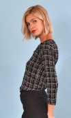 Top Pénélope Pops New York black, Jacquard knit top, glamorous, fitted, draped neckline front, manches sleeves, sixties.