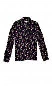 Shirt Elle lisait Sophocle Petites Tulipes, printed long sleeves shirt with cuffs, fluid, mini rounded collar.