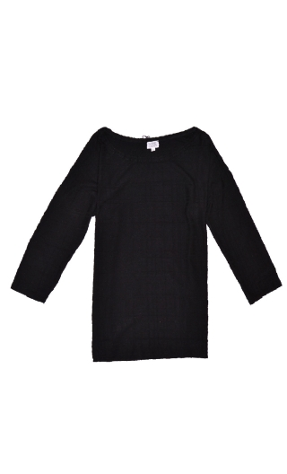 Top Fou Masqué Pops Treillage black Jacquard knit top, loose, scoop neck, ¾ sleeve.