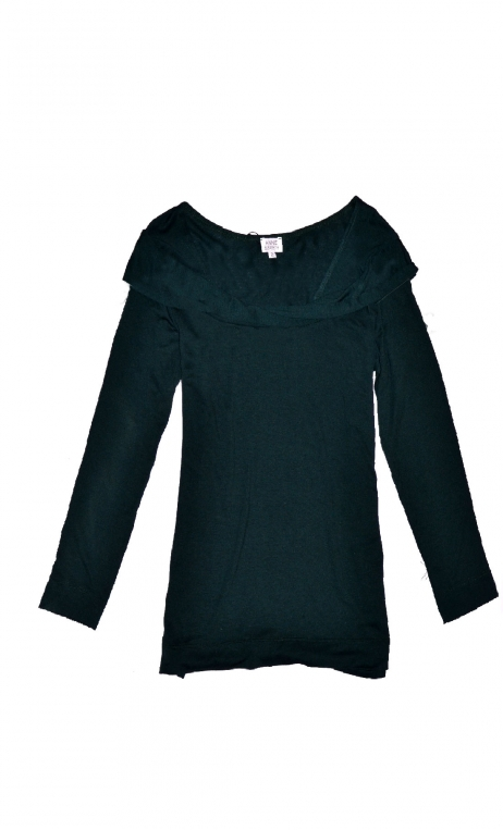 Top Pénélope Jersey uni Pétrole, Top in Plain jersey, glamorous, fitted, draped neckline front, manches sleeves, sixties.