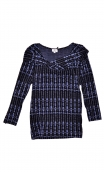 Top Pénélope Pops Cascades, Jacquard knit top, glamorous, fitted, draped neckline front, manches sleeves, sixties.