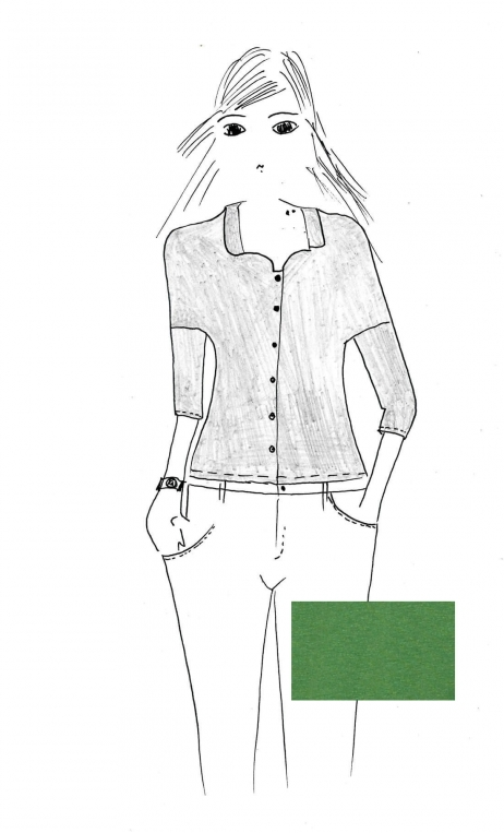 Top Hermione green Basics Raffinés, Plain jersey top, faux-buttoned, loose, small collar and 3/4 sleeve.