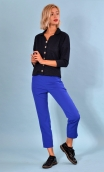 Top Hermione Pops Lurex bleu, jacquard knit top, faux-buttoned, loose, small collar and 3/4 sleeve.