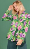 Shirt Utrillo Pavots, printed tunic long and flared, slit side, buttons at mid-height, long sleeves and cuffs, pointed coll