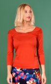 Top Pénélope Basiques Raffinés rusty, Top in Plain jersey, glamorous, fitted, draped neckline front, 3/4 sleeves, sixties.