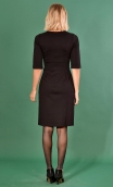 Robe La Nuit Américaine Milano Black , Plain knit dress, straight and short sleeves, collar, buttoned strapless
