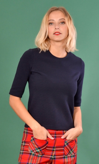Top Cot'cotte Pops Crépi marine, Jacquard knit top, crewneck, fitted, zip back, elbow sleeve, sixties