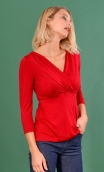 Top Lorelei Jersey red, Crossed heart in a closed V, the chest taken in a pleated and suggestive way.