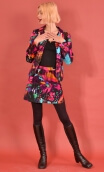 Jupe Gaby n'a pas froid Cottage Fushia, Printed skirt velvet, trapeze and short, zipped back