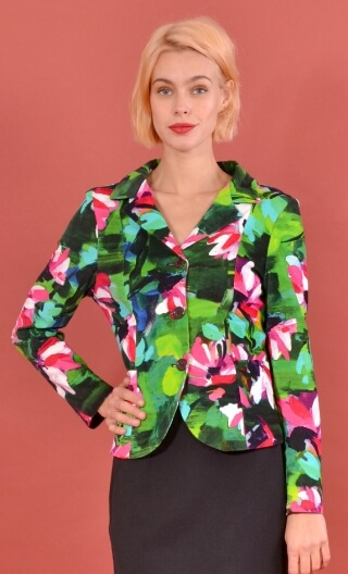 Veste Madame à Paris Crazy Bloom green, printed velvet jacket, fitted, collar and lapels, pockets, unlined.