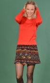 Jupe Gaby n'a pas froid Black Pearl, Printed skirt velvet, trapeze and short, zipped back