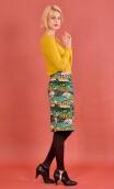 """Jupe Andromaque Grain de Poudre, spindle print skirt, """"pencil"""", knee length, back slit embellished with a bow"""