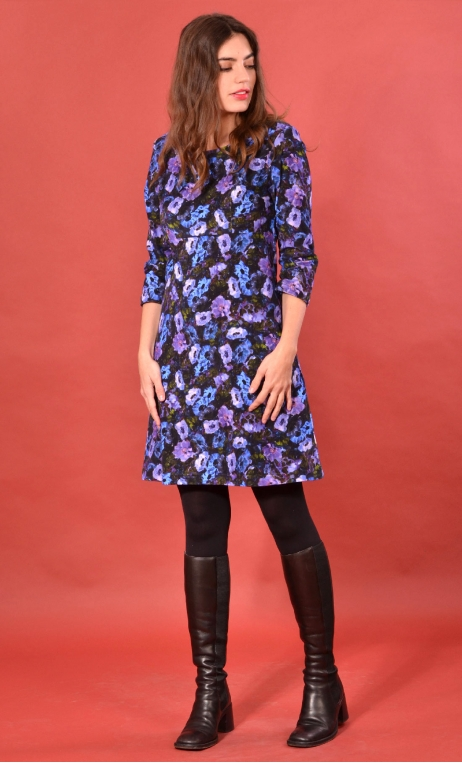 Robe Reviens-moi toujours Taxi Mauve, printed stretch velvet dress, over-the-knee length, elbow sleeve.