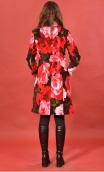 Manteau Natacha Impératrice, Printed velvet coat, knee length, waisted, round neck, lined.