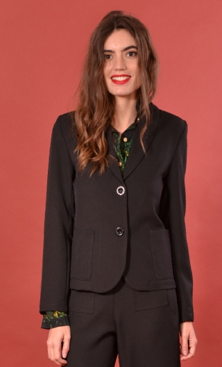 Veste Mazarine Serie B Noir, plain stretch jacket, straight, with collar, patch pockets.