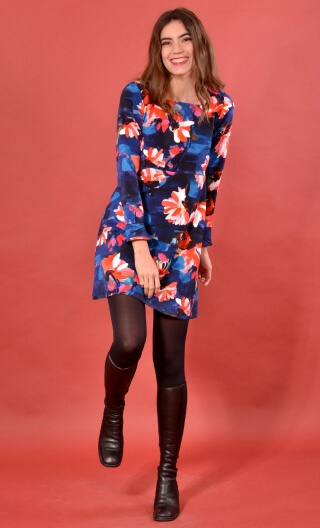 robe Taxi Girl Crazy Bloom Bleu Rouge, Printed short dress, long sleeve, trapeze