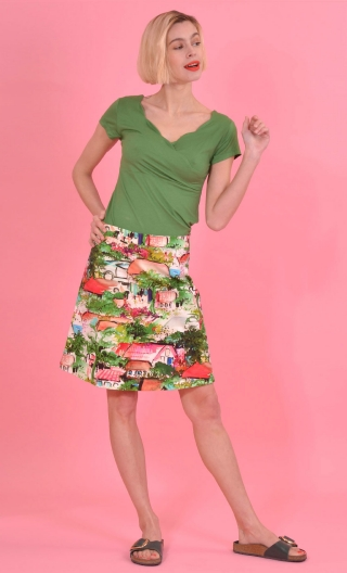Jupe Swan Petit pays, A-line printed skirt just above the knee, zipped at the back.