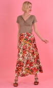 Jupe Formentera Pompadour, Printed viscose skirt, very long and loose