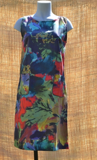 Robe Lady flamboyantB, Three-hole printed dress, knee, trapeze, patch pockets, short