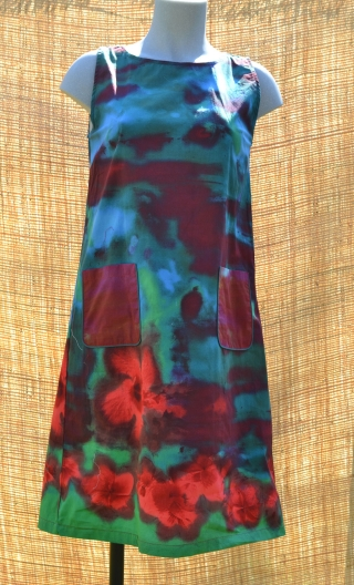 Robe Lady Hibiscus Bleu, Three-hole printed dress, knee, trapeze, patch pockets, short