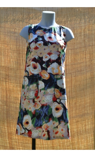 Robe lady Monet, Three-hole printed dress, knee, trapeze, patch pockets, short