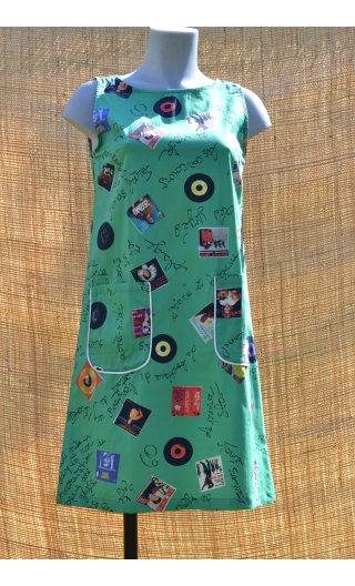 Robe lady Microsillons Vert, Three-hole printed dress, knee, trapeze, patch pockets, short