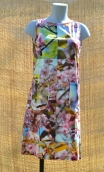 Robe Lady Cerisier du Japon, Three-hole printed dress, knee, trapeze, patch pockets, short