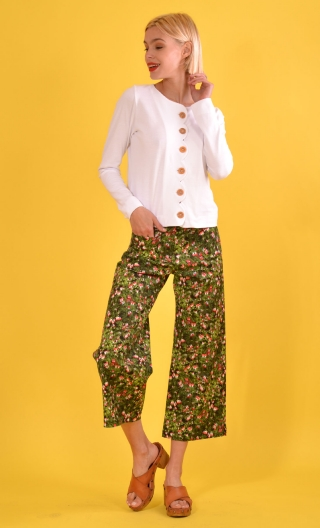 Pantalon Gus Fée Clochette, printed trousers, wide and a little short, stretch, flat profile, zip side, patch pockets back and f