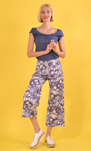 Pantalon Gus Pergola printed trousers, wide and a little short, stretch, flat profile, zip side, patch pockets back and front