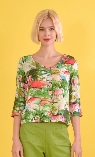 Top Julie Petit Pays, Printed top, V neckline, buttoned, ¾ sleeves.