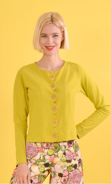 Cardigan Cœur de Pirate Piqué green limon, Plain, knitted cardigan, short, buttoned and scalloped front.