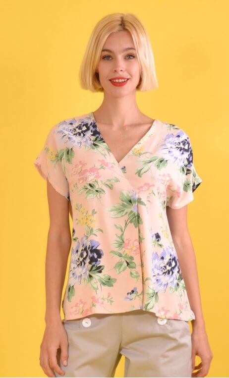 Top L'Aigrette Pivoines Rose, Printed Top kimono style, flared, loose sleeve, V in front, pleat