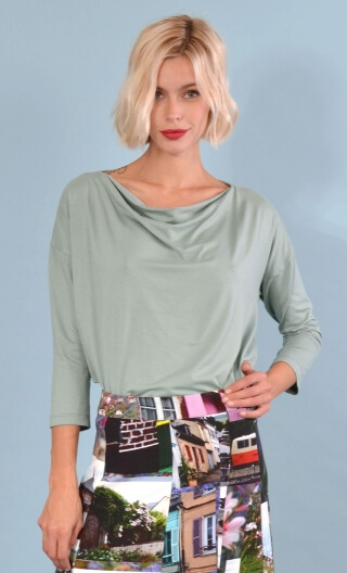 Top Brahms Basic grey lichen , Plain, fluid, cowl neck, loose armhole, 3/4 sleeves.